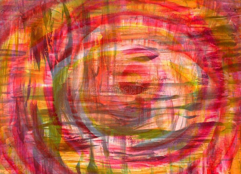 La brosse peinte à la main abstraite frotte le fond Mélange d'acrylique et d'aquarelle Texture colorée décorative pour la concept illustration stock
