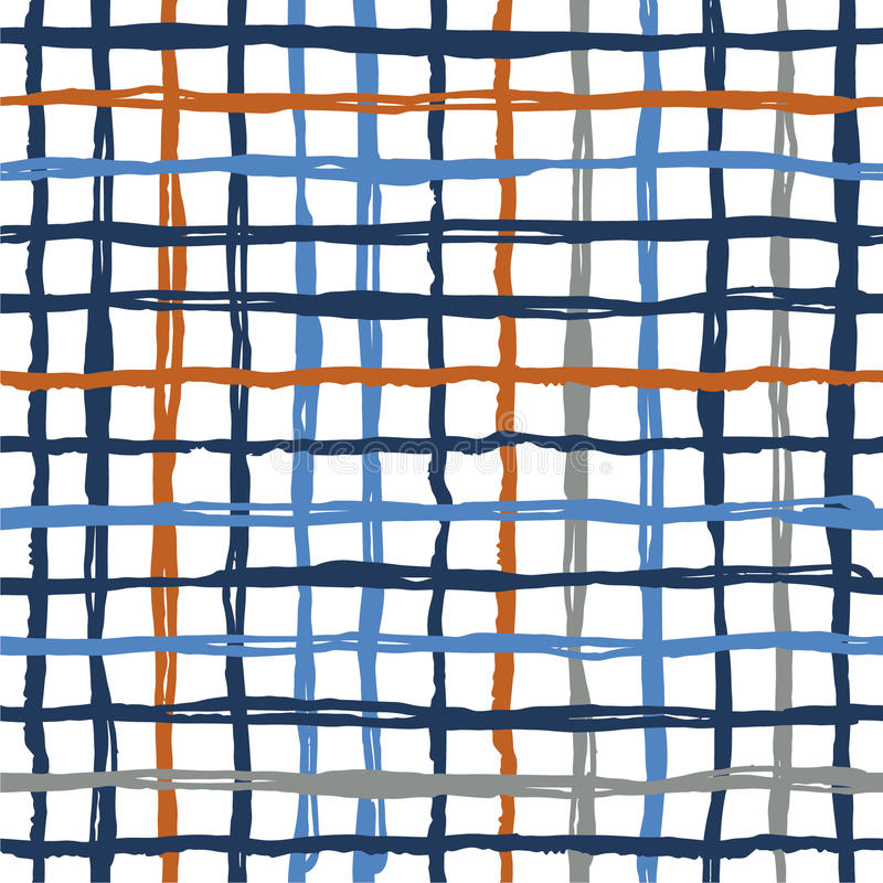 La brosse sans couture de modèle de vecteur barre le plaid Couleur orange bleue sur le fond blanc Texture peinte à la main de gra illustration stock