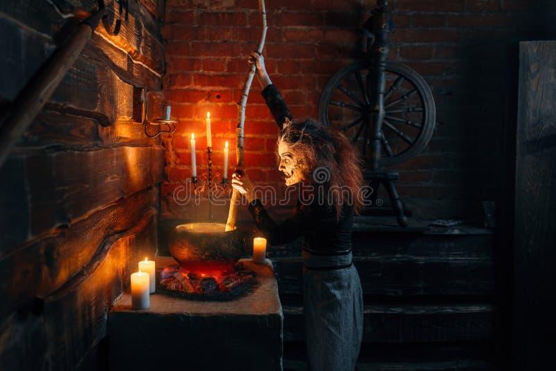 La bruja asustadiza que cocina la sopa y lee encanto foto de archivo libre de regalías
