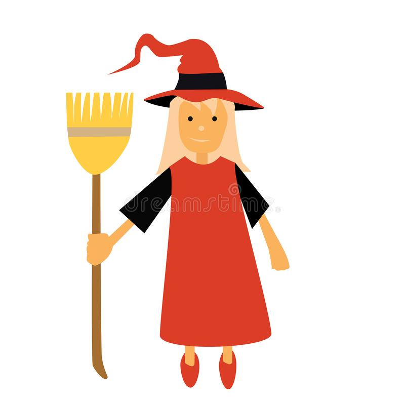 La bruja del vector de Halloween con una escoba y el vestido rojo amarillean el pelo y un sombrero rojo de la bruja ilustración del vector