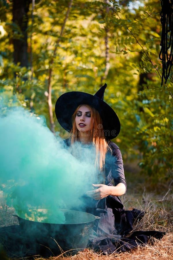 La bruja enigmática del bosque en la madera verde al aire libre fotografía de archivo