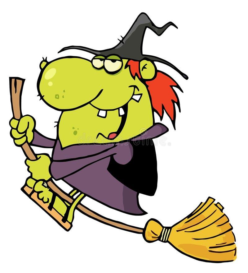 La bruja feliz monta la escoba stock de ilustración