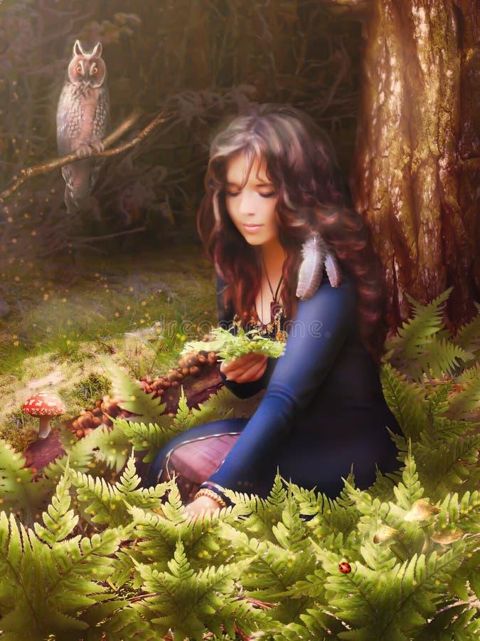 La bruja hermosa de la muchacha recoge las hierbas en el bosque libre illustration