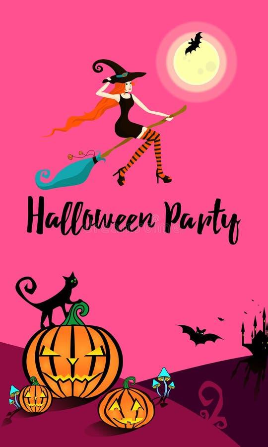 La bruja hermosa joven en medias rayadas brillantes vuela en una escoba a un partido en honor de Halloween ilustración del vector