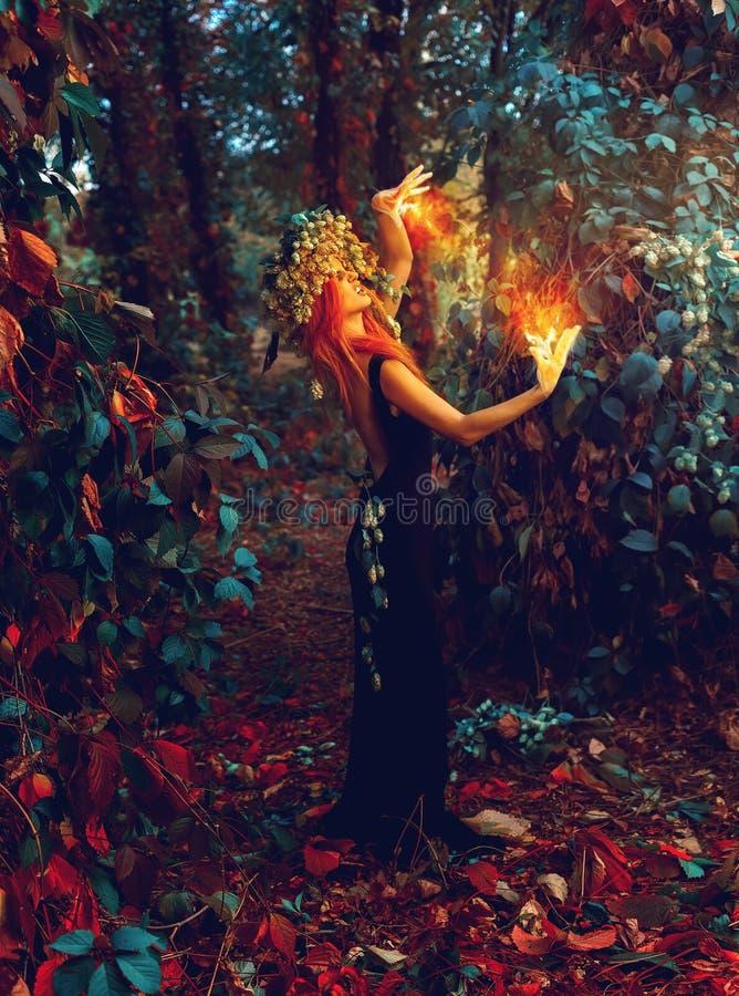 La bruja joven impresionante conjura en el bosque foto de archivo libre de regalías