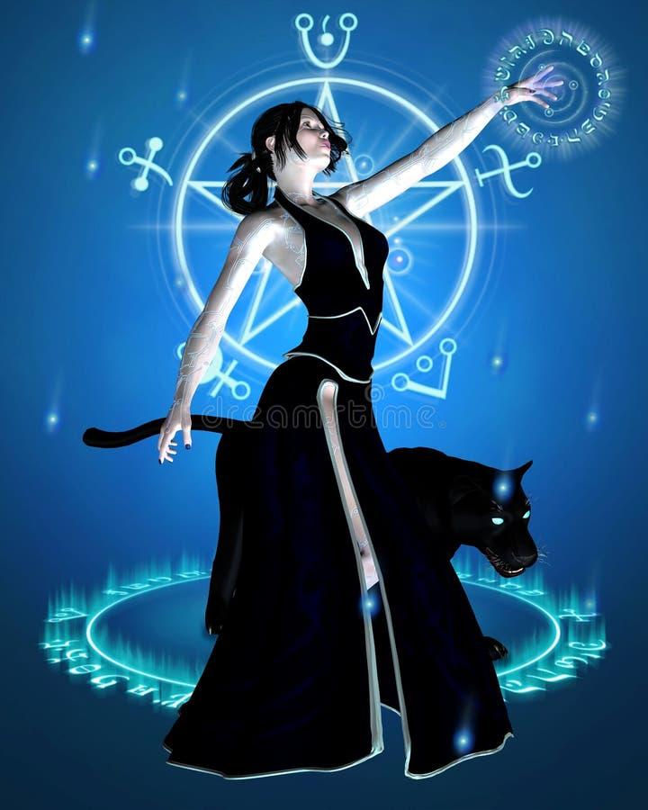 La bruja y la pantera negra - convocar a potencia ilustración del vector
