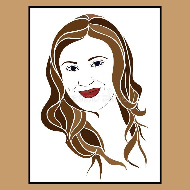 La brune du visage de la fille avec un sourire tendre images libres de droits