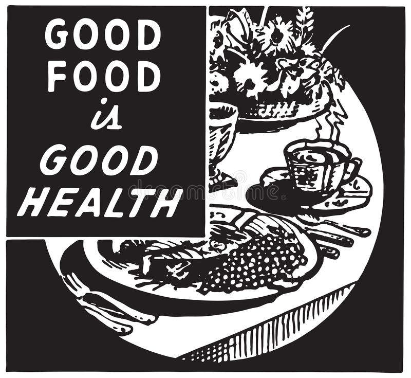 La buena comida es la buena salud 2 ilustración del vector