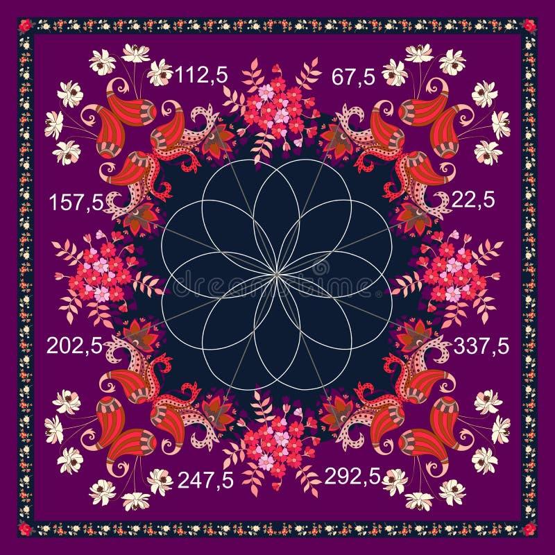 La bufanda de seda con el ornamento floral de Paisley y el gráfico matemático subió Grandi Impresión de moda única para la tela stock de ilustración