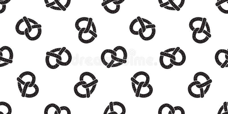 La bufanda inconsútil de la raza del bocado de la galleta del vector del modelo del pretzel aisló blanco del fondo de la teja del ilustración del vector