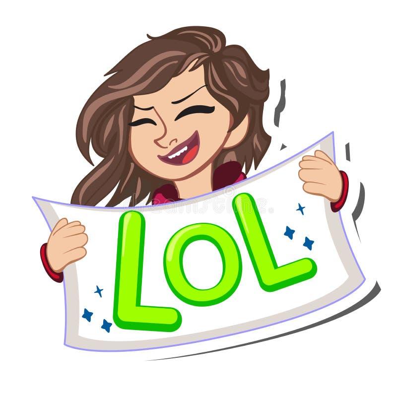 La bulle comique de la parole avec des étoiles, le texte émotif Lol et ouvrent rire femelle de bouche Isolant dynamique lumineux  illustration libre de droits