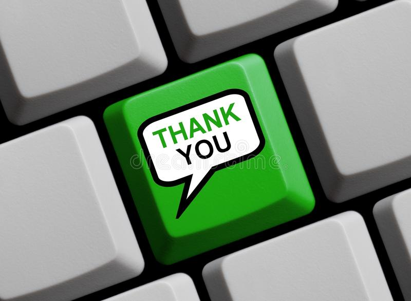 La bulle de la parole sur l'apparence de clavier d'ordinateur vous remercient image stock