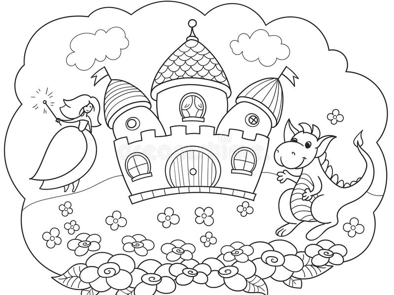 La bulle est un rêve L'histoire de la princesse, du dragon et du château Un conte de fées d'enfants Livre de contes de vecteur illustration stock