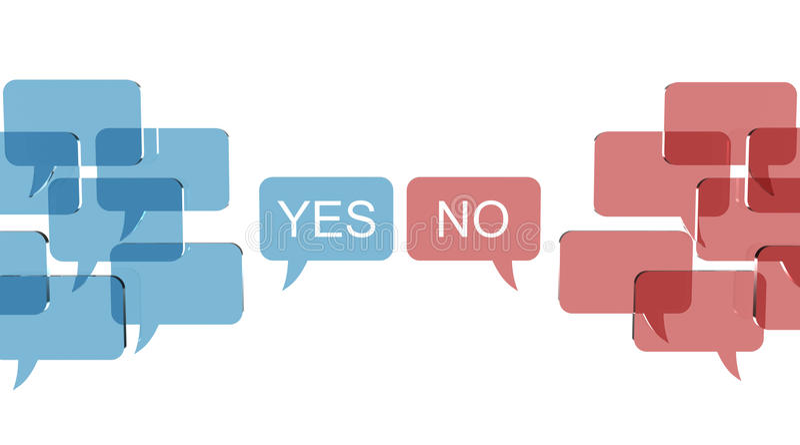 La bulle parle avec deux avis opposés illustration libre de droits