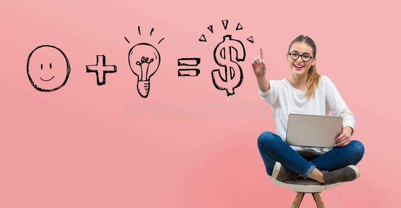 La buona idea uguaglia i soldi con la giovane donna royalty illustrazione gratis