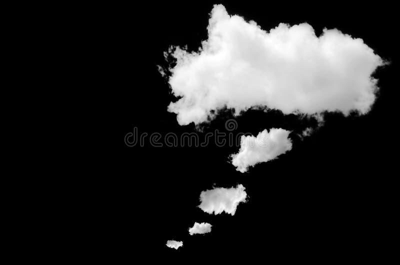 La burbuja blanca del pensamiento del diseño es nube en el negro fotografía de archivo