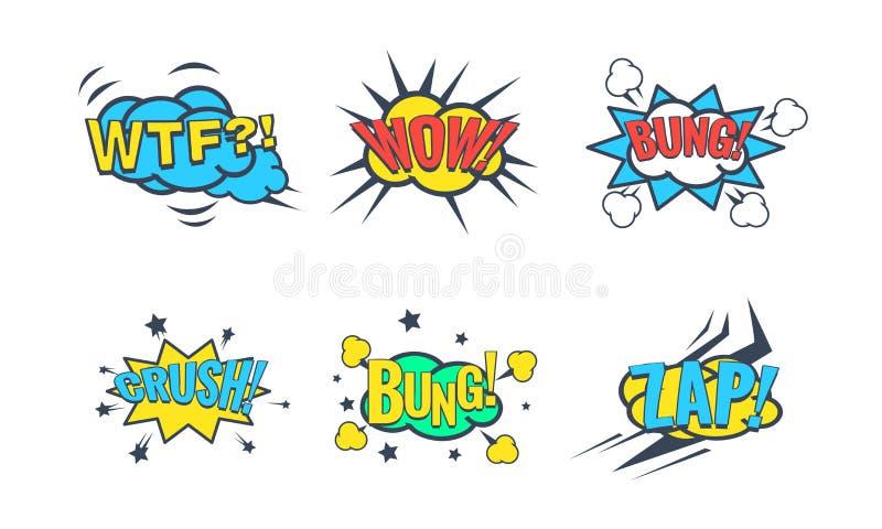 La burbuja cómica del discurso con el sistema del texto, efectos sonoros cómicos, Wtf, wow, tapón, machaca, Zap el ejemplo del ve libre illustration