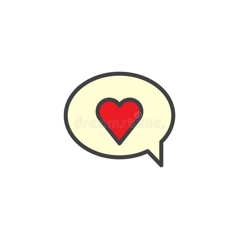 La burbuja del discurso del día de tarjetas del día de San Valentín con el corazón rojo llenó el icono del esquema libre illustration