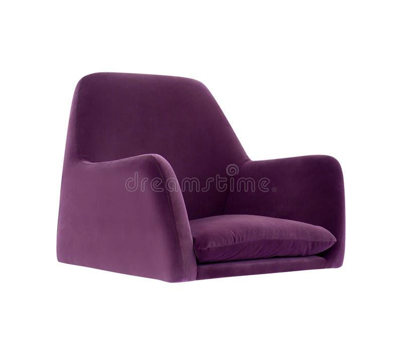 La butaca púrpura moderna aislada en blanco fotografía de archivo libre de regalías
