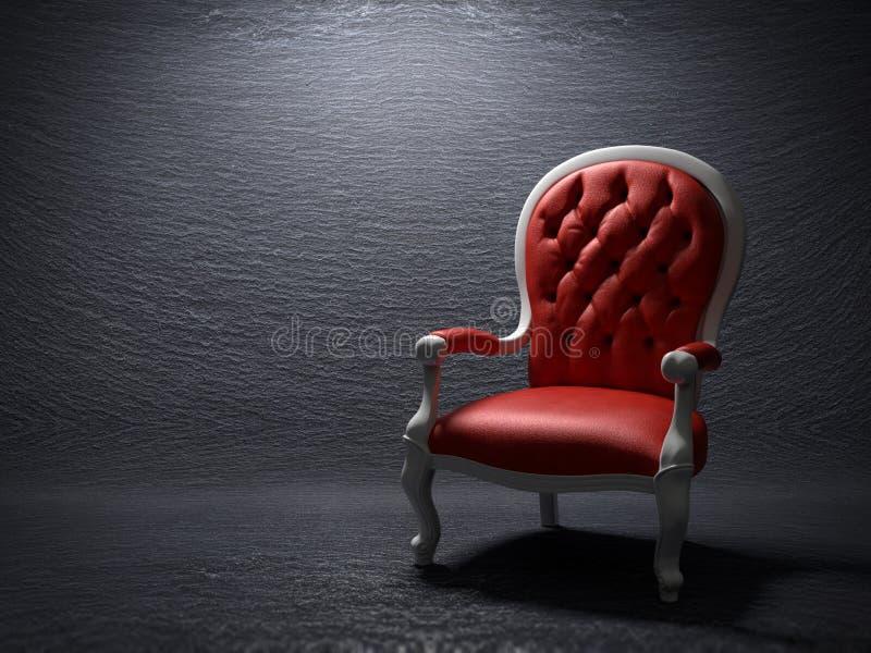 La butaca roja stock de ilustración