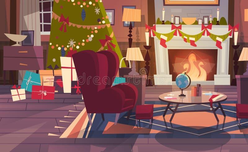 La butaca vacía cerca adornó el árbol y chimenea de pino, decoración interior del hogar para la Navidad y los días de fiesta del  stock de ilustración