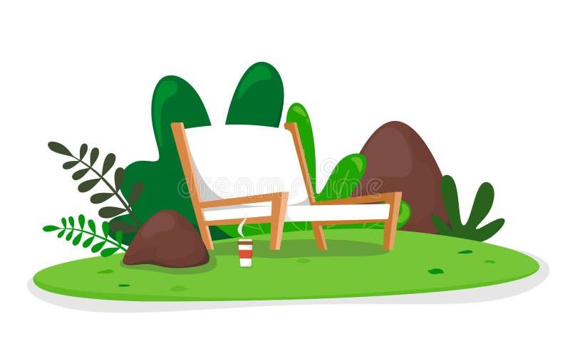 La butaca y el café caliente en naturaleza, relajan el lugar, lugar de descanso Ilusión del vector en el fondo blanco stock de ilustración