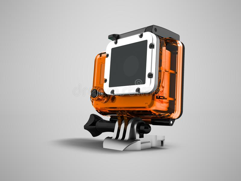 La cámara de la acción en una caja anaranjada para el soporte 3d del casco rinde en GR stock de ilustración
