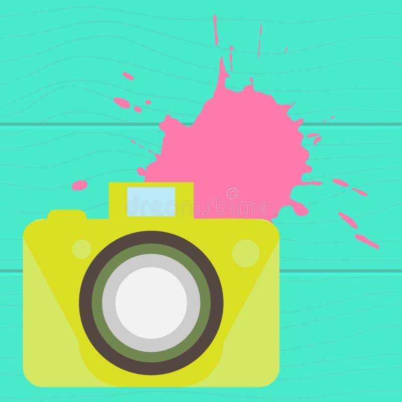 La cámara de color pasada de moda Estilo plano En un fondo de madera ilustración del vector