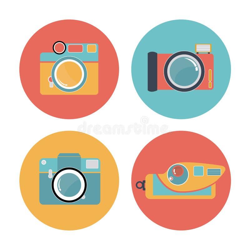 La cámara fijó 01 ilustración del vector