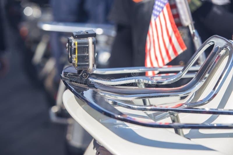 La cámara posterior en motocicleta imagen de archivo libre de regalías