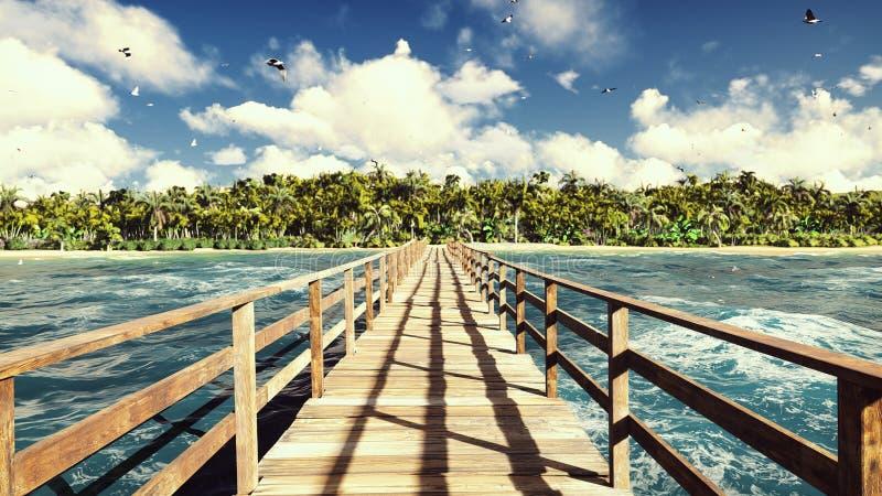 La cámara vuela sobre un puente de madera en una isla tropical con una playa blanca exótica Palmeras verdes, cielo azul y foto de archivo