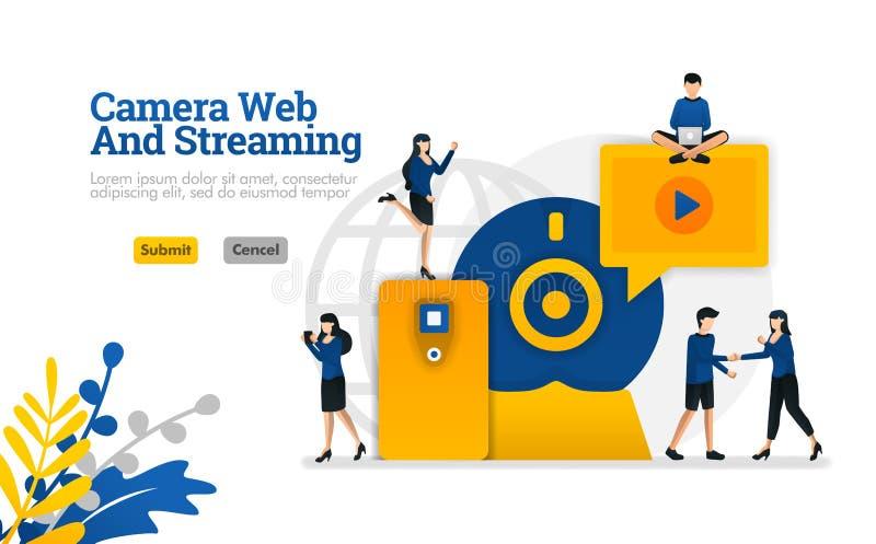 La cámara y el concepto la web el fluir, el vídeo digital de Internet y de los medios del desarrollo del vector del ejemplo puede libre illustration