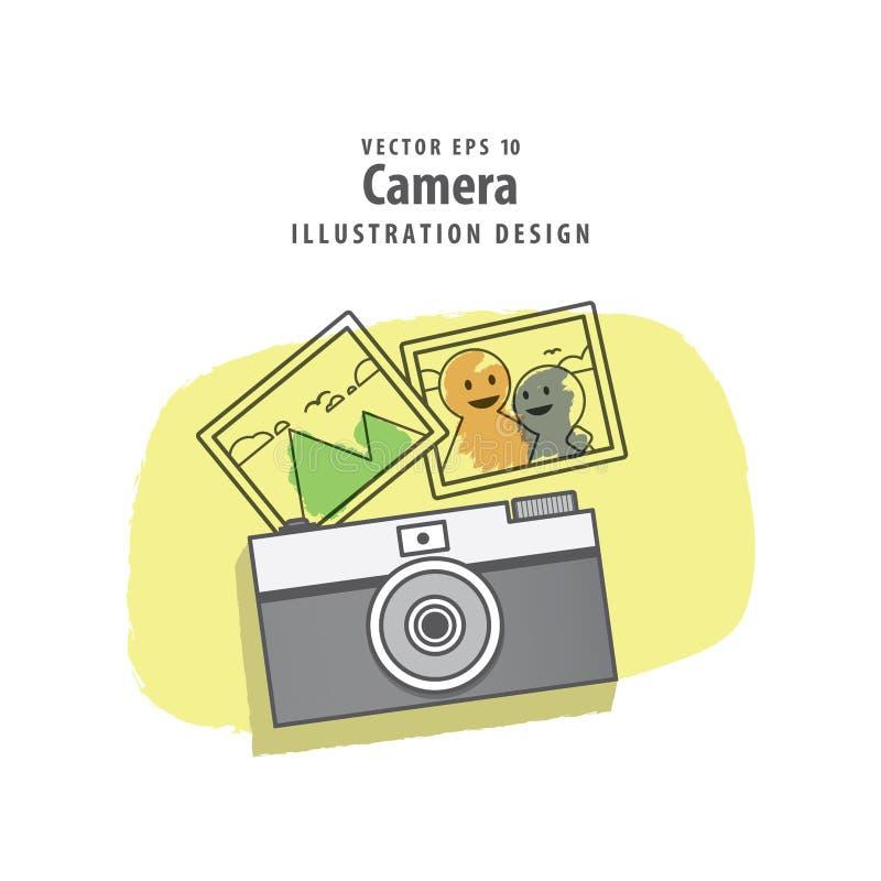 La cámara y la foto del ejemplo de las memorias vector el fondo Tra libre illustration