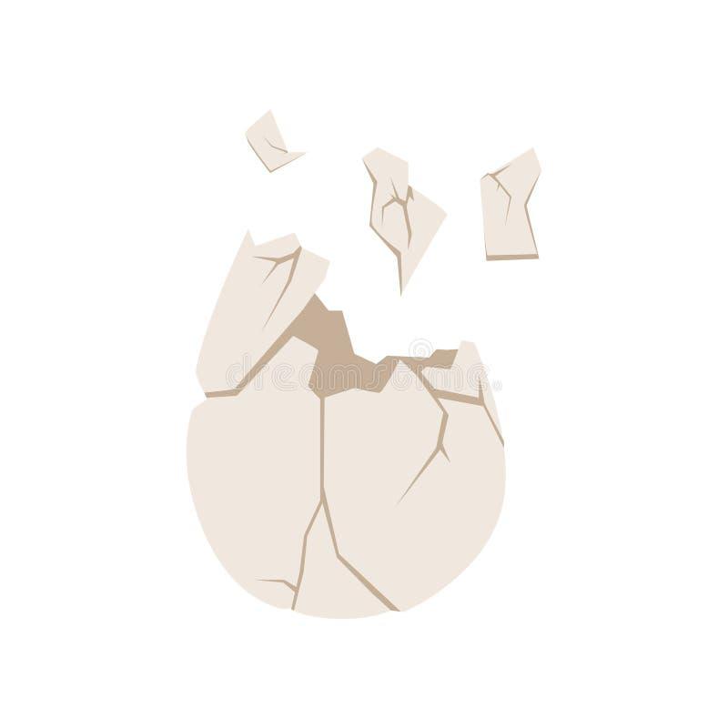 La cáscara de huevo quebrada, basura orgánica, utiliza el ejemplo inútil del vector del concepto en un fondo blanco stock de ilustración