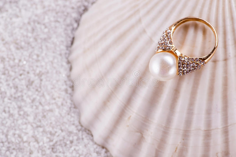 La cáscara de oro del anillo y del mar foto de archivo libre de regalías