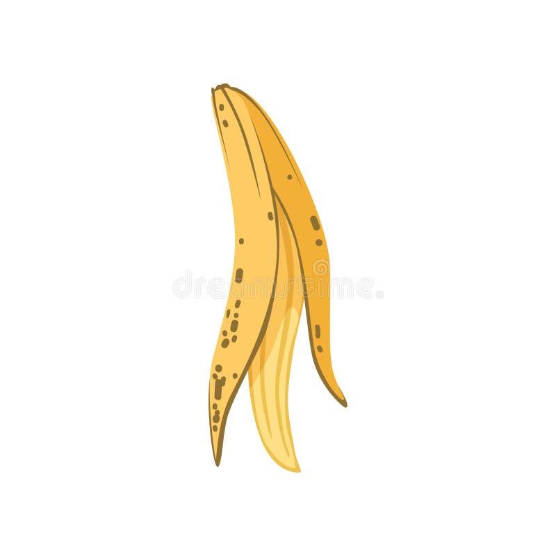 La cáscara del plátano, basura orgánica, utiliza el ejemplo inútil del vector del concepto en un fondo blanco ilustración del vector
