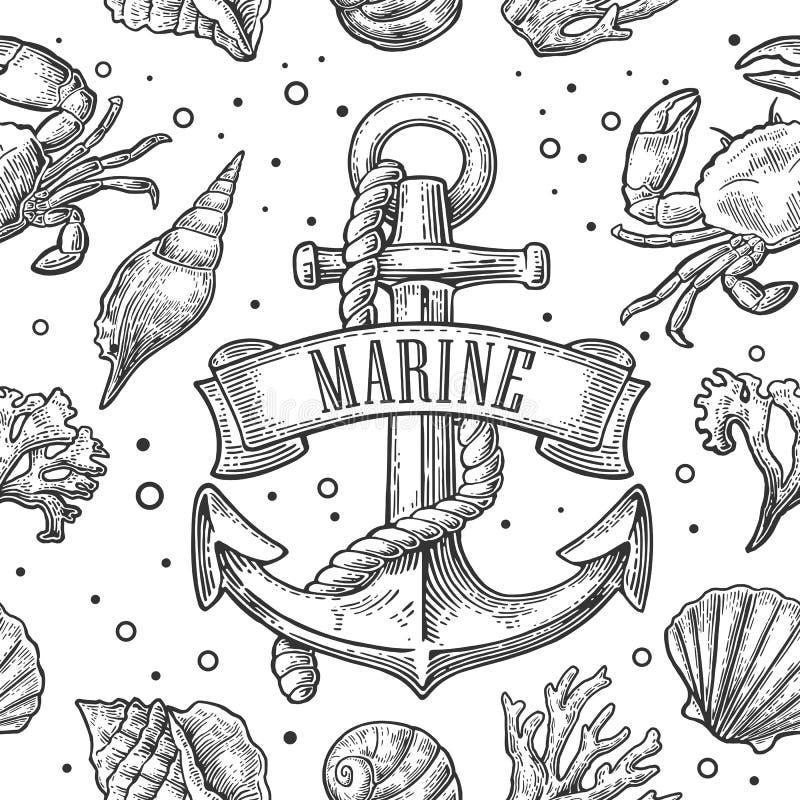 La cáscara, el coral, el cangrejo, el camarón y el ancla inconsútiles del mar del modelo con la cinta titulan al INFANTE DE MARIN ilustración del vector