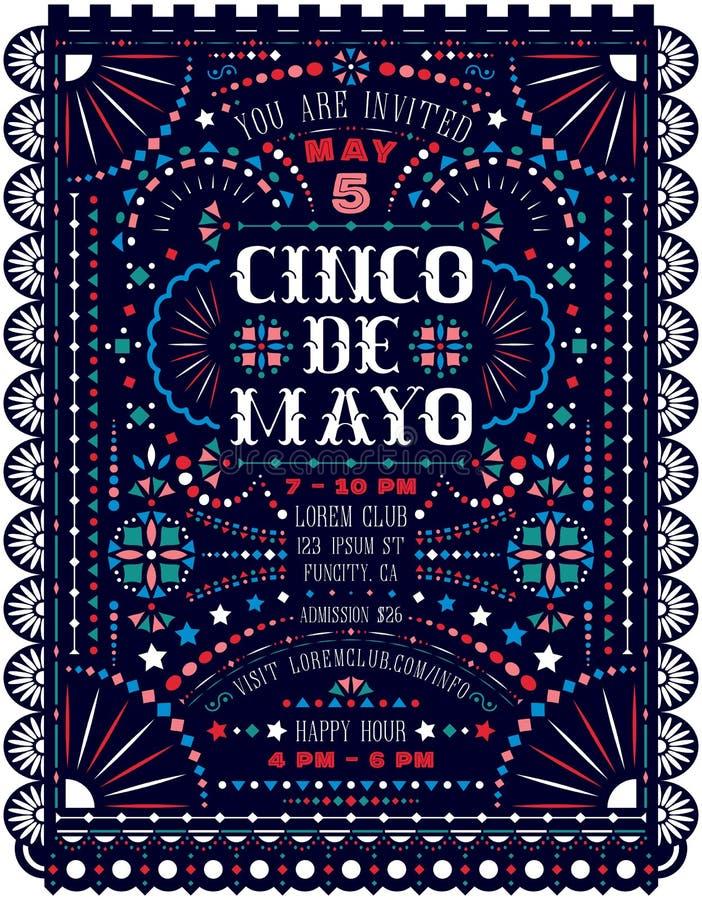 La célébration de Cinco De Mayo annoncent le calibre d'affiche avec les ornements décoratifs nationaux mexicains illustration de vecteur