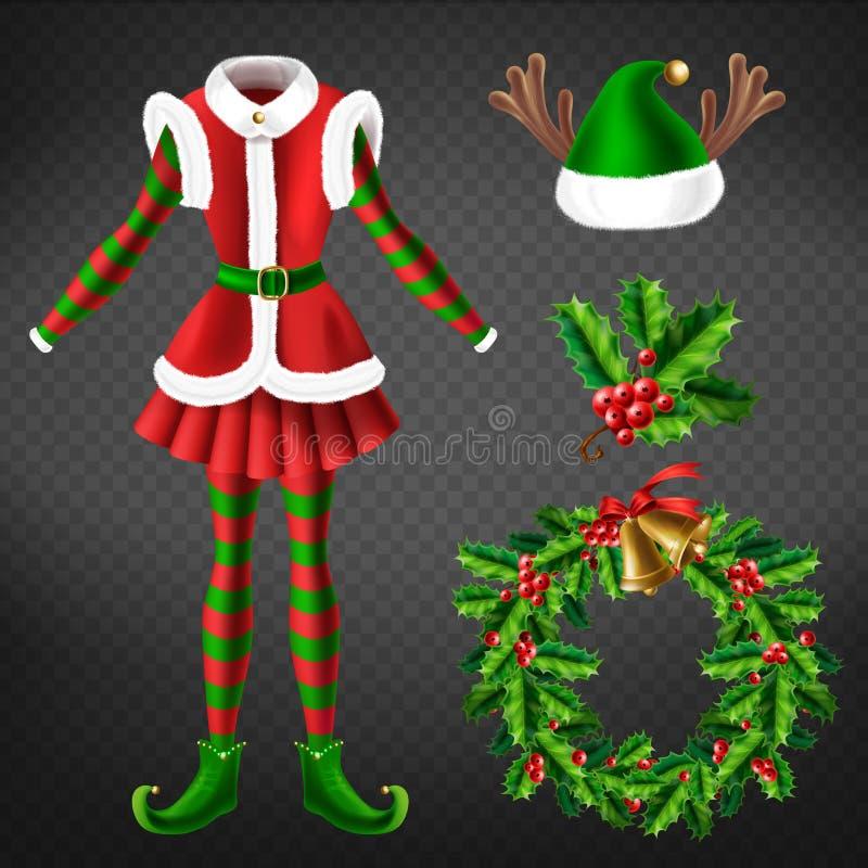 La célébration de Noël attribue l'ensemble du vecteur 3d illustration libre de droits