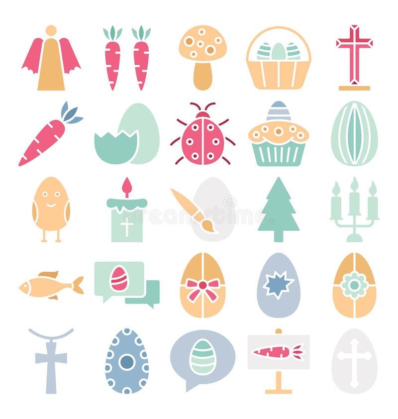 La célébration de Pâques a isolé l'ensemble d'icônes de vecteur qui peut être facilement modifié ou édité illustration de vecteur