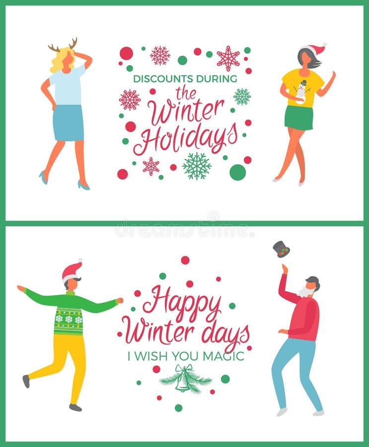 La célébration heureuse de vacances d'hiver escompte l'ensemble illustration libre de droits