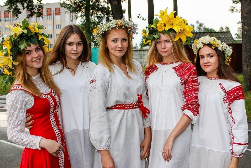 La célébration nationale des vacances païennes d'Ivan Kupala dans la région de Gomel du Belarus photographie stock libre de droits