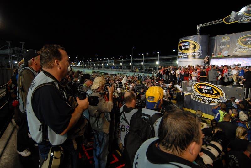 La cérémonie de gain NASCAR photo libre de droits