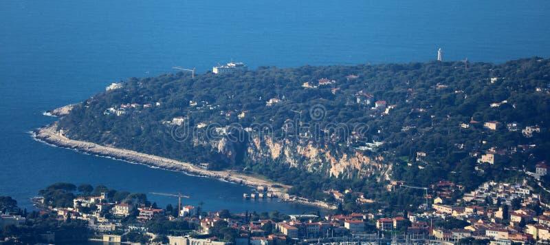 La Côte d'Azur, ` Azur, côte méditerranéenne de CÃ'te d, Eze, Saint Tropez, Cannes et le Monaco agréables L'eau bleue et yachts d photo stock