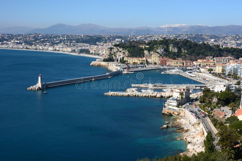 La Côte d'Azur, Nice ville, panorama de la baie photos libres de droits
