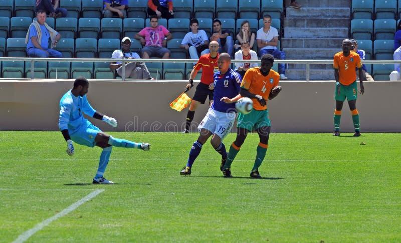 La Côte d'Ivoire et match de football du Japon photographie stock