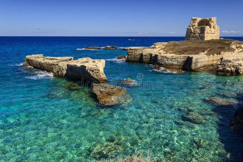 La côte la plus belle de Pouilles : Roca Vecchia, ITALIE Lecce photographie stock libre de droits
