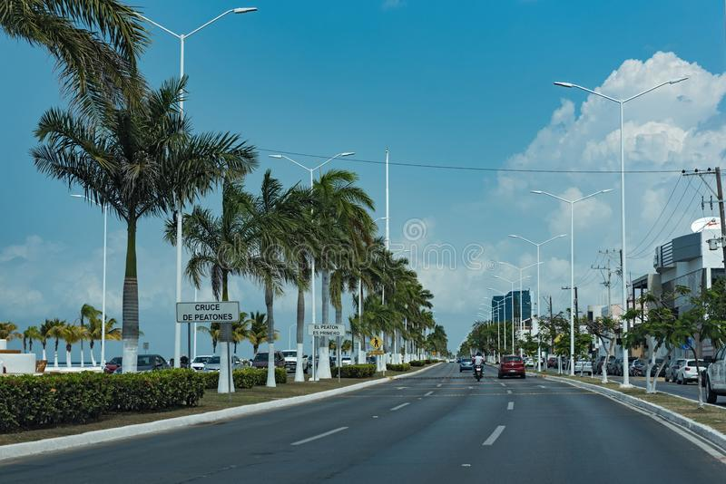 La côte road costera del golfo dans Campeche, Mexique image libre de droits