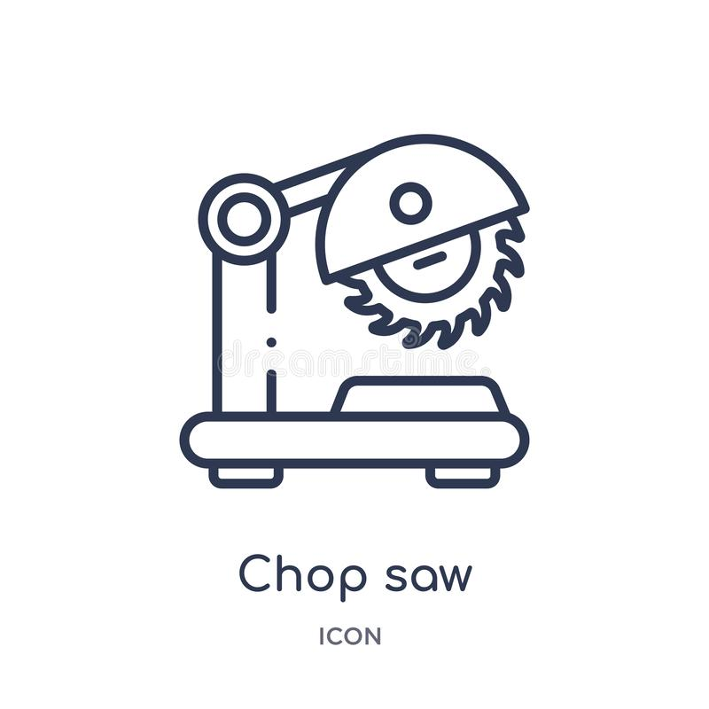 La côtelette linéaire a vu l'icône de la collection d'ensemble de construction et d'outils La ligne mince côtelette a vu l'icône  illustration de vecteur