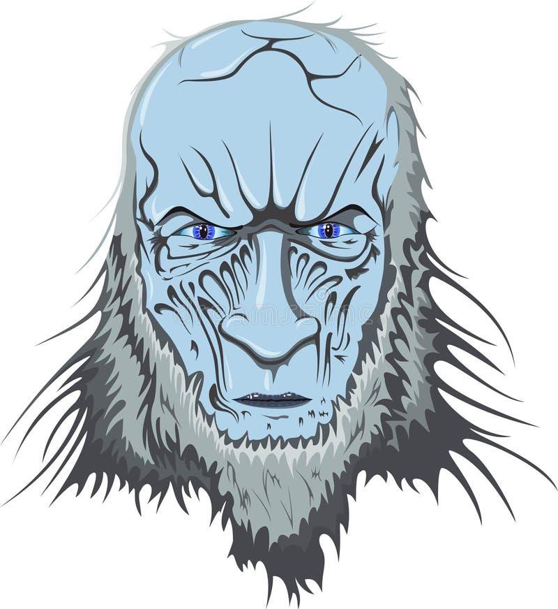 La cabeza azul de un zombi con una mirada helada imágenes de archivo libres de regalías